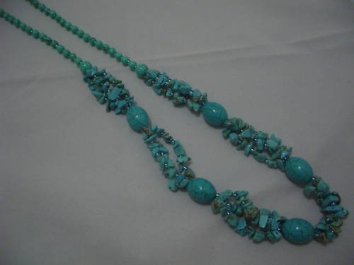 "New Oliver Howlite Turquoise Beads Necklace 30"" TN23"