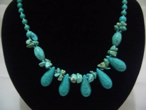 """New Teardrop Howlite Turquoise Beads Necklace 19"""" TN18"""