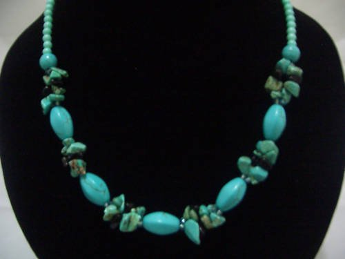 """New Oliver Howlite Turquoise Beads Necklace 19"""" TN16"""