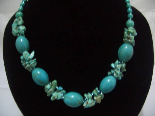 """New Oliver Howlite Turquoise Beads Necklace 19"""" TN15"""