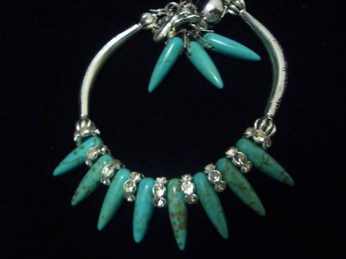 Turquoise Beads Crystal Tibet Silver Cham Bracelet TB12