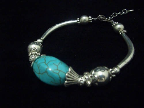 Turquoise Crystal Tibet Silver Cham Bracelet TB10