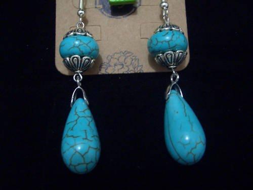 New Natural Drops Turquoise Tibet Silver Earrings TE01