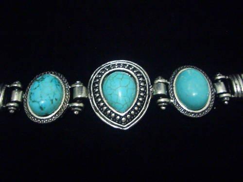 Drop Turquoise Tibet Silver Cuff Chain Bracelet TB05