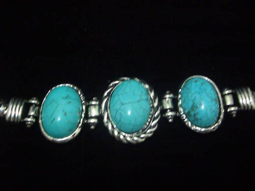 Oval Turquoise Tibet Silver Cuff Chain Bracelet TB04