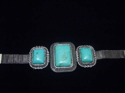 Square Turquoise Tibet Silver Cuff Chain Bracelet TB03