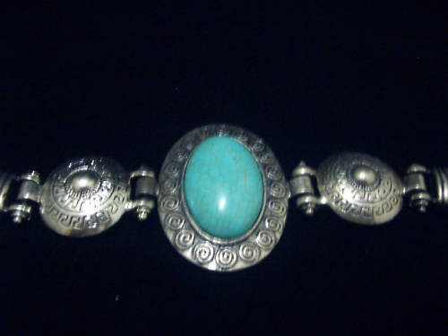 Oval Turquoise Tibet Silver Cuff Chain Bracelet TB02