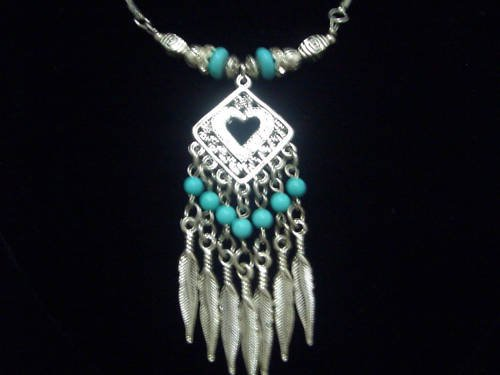 Feather Tibet Silver Turquoise Pendant Necklace TN10