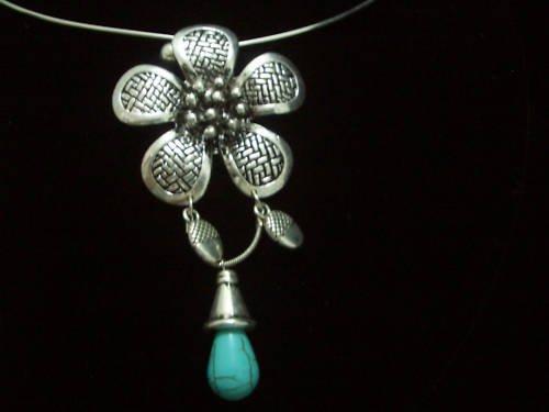 Flora Turquoise Drop Pendant Tibet Silver Necklace TN08