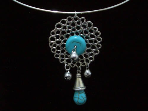 Round Turquoise Pendant Tibet Silver Necklace TN06