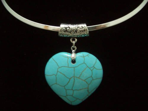 Heart Turquoise Pendant Tibet Silver Necklace TN04
