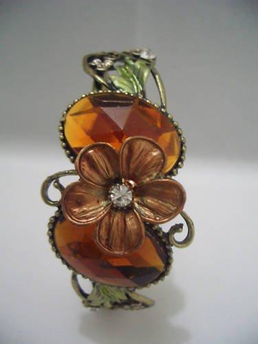 Vintage Yellow Crystal Floral Bangle Bracelet Cuff B07