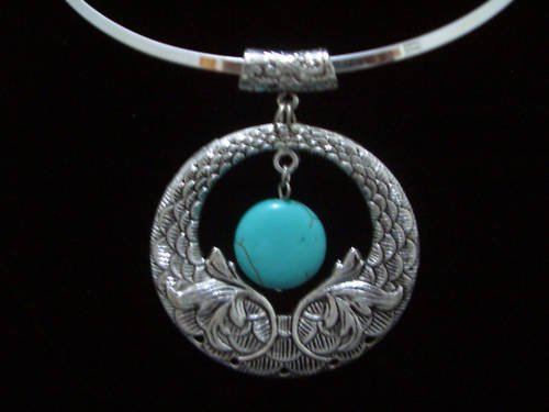 ROUND Turquoise Pendant Tibet Silver Necklace TN03