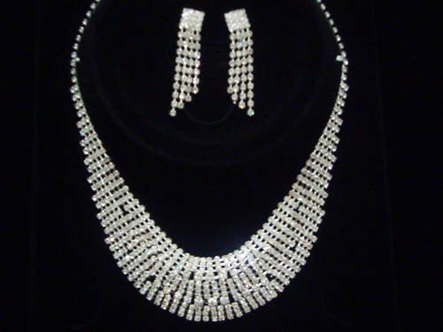 Bridal Swarovski Crystal Necklace Earrings set N03
