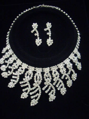 Bridal Swarovski Crystal Necklace Earrings set N02