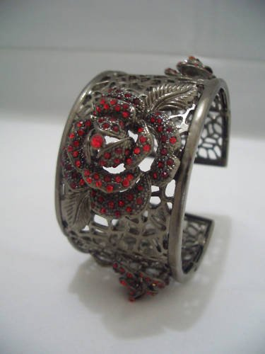 Red Rose Swarovski Crystal Bangle Bracelet Cuff B03