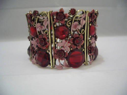 Red Archaize Crystal Bracelet Bangle Cuff B02