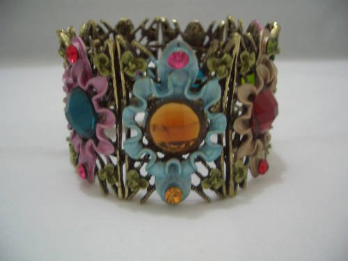 Multi-Color Archaize Crystal Bracelet Bangle Cuff B01