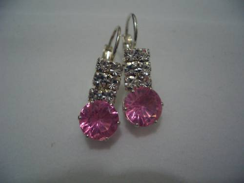 New Silver Crystal Pink Round CZ Stud Earrings E008