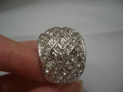 New Rhinestone Cluster White Gold Ring R02 SIZE 10