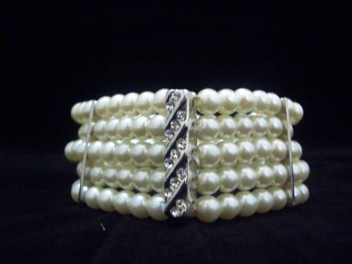 Wedding 5 Rows Ivory Cream Shell Pearl Bracelet BB03
