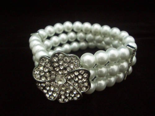 Bridal Wedding 3 Rows White Pearl Flower Bracelet BB02