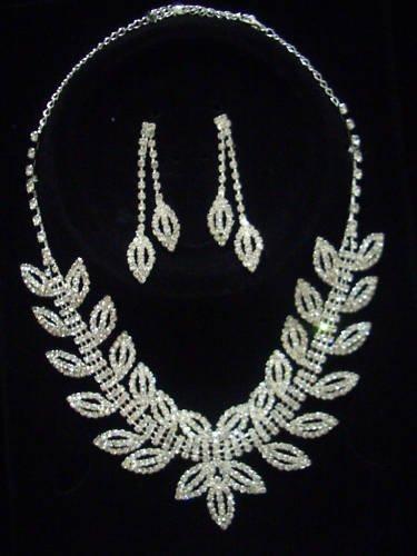 Bridal Swarovski Crystal Necklace Earrings set N04