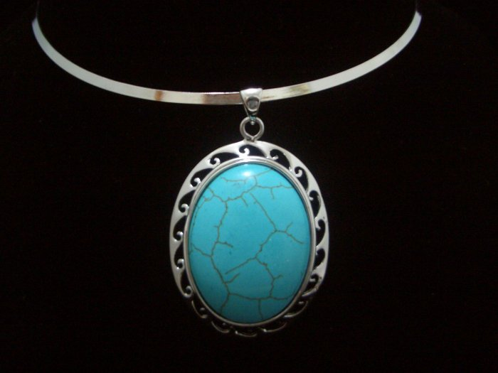 ROUND Turquoise Pendant Tibet Silver Necklace TN02