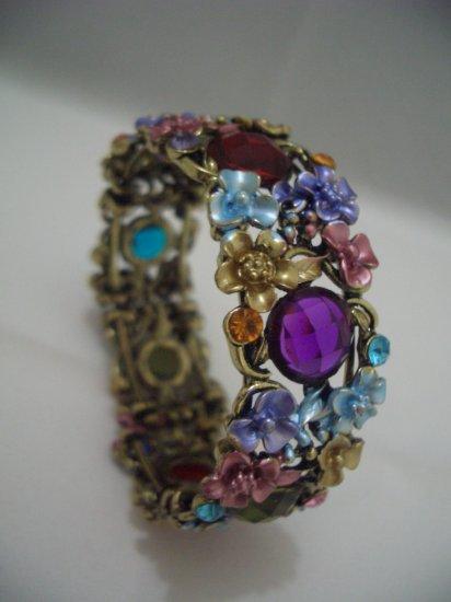 Multi-color Floral Crystal Bangle Bracelet Cuff B06