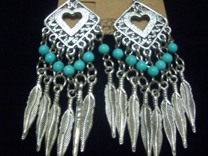 Natural Turquoise Feather Tibet Silver Earrings TE02