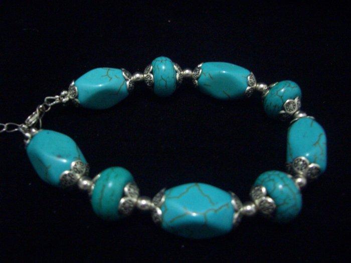 9 Turquoise Beads Tibet Silver Cham Chain Bracelet TB07