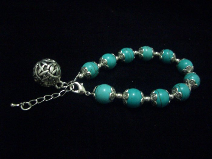 Round Turquoise Beads Tibet Silver Cham Bracelet TB08