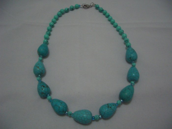 "New Teardrop Howlite Turquoise Beads Necklace 17"" TN17"