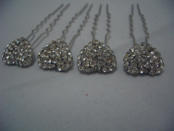 4 Heart Bridal Party Wedding Veil Crystal Hair Pins P01