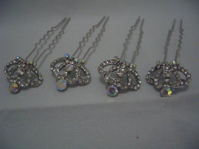 4 Crown Bridal Party Wedding Veil Crystal Hair Pins P02
