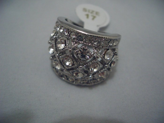 New Clear Rhinestone White Gold Ring R01 Size 10
