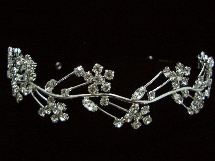 Bridal Wedding Floral Veil Crystal Headband Tiara T20