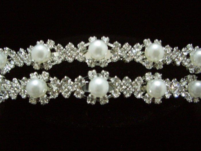 Bridal Wedding Veil Crystal Pearl Headband Tiara T22