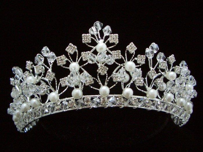 NEW Bridal Wedding Veil Crystal Pearl Crown Tiara T27