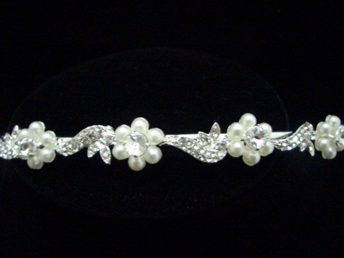 Bridal Wedding Veil Crystal Pearl Headband Tiara T28