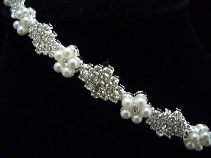 Bridal Wedding Veil Crystal Pearl Headband Tiara T29