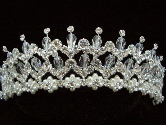 NEW Bridal Wedding Veil Crystal Pearl Crown Tiara T32