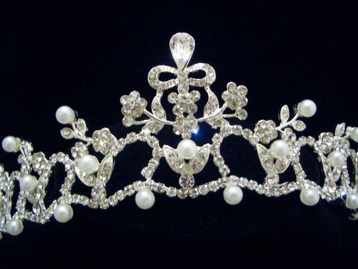 NEW Bridal Wedding Veil Crystal Pearl Crown Tiara T37