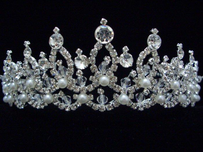 NEW Bridal Wedding Veil Crystal Pearl Crown Tiara T38