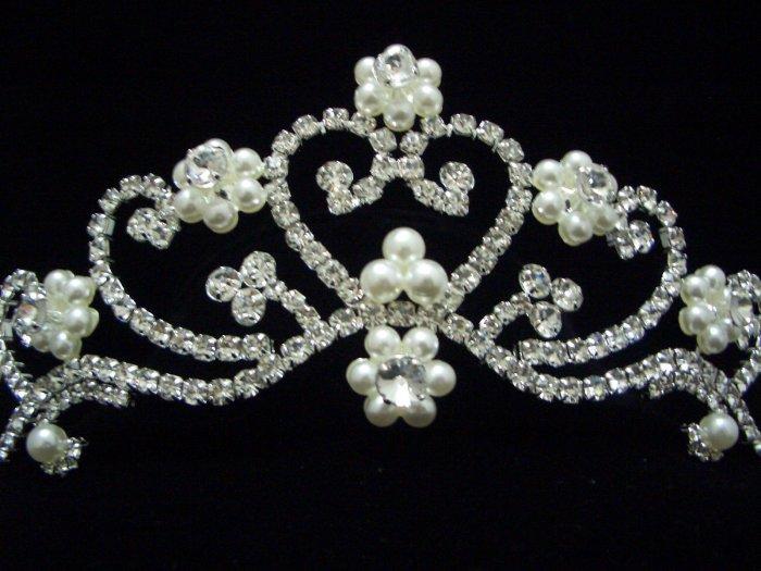 NEW Bridal Wedding Veil Crystal Pearl Crown Tiara T40