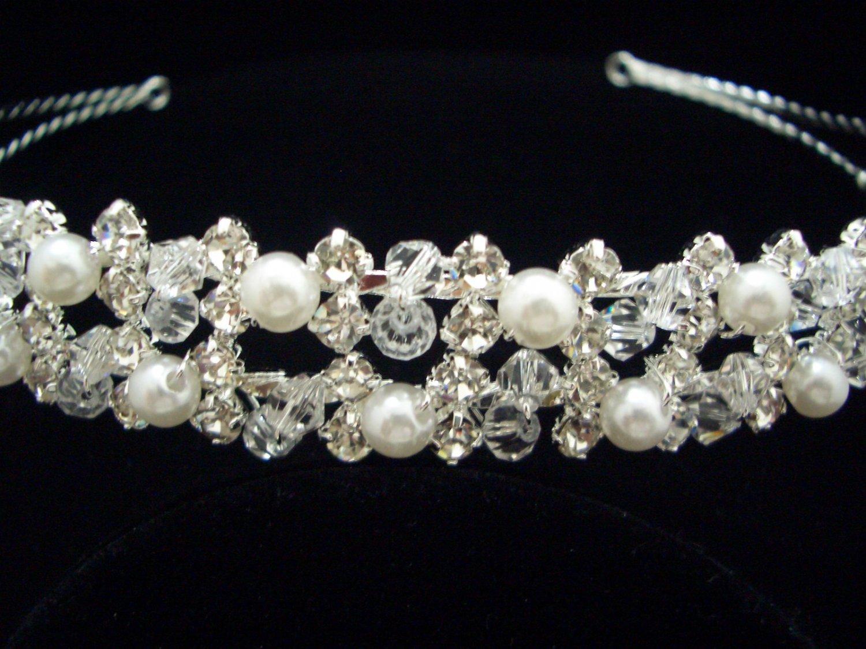 Bridal Wedding Veil Crystal Pearl Headband Tiara T53
