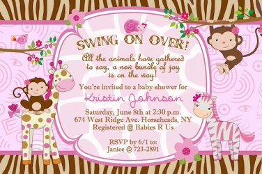 Whimsical monkey jungle girl giraffe zebra baby shower invitations filmwisefo