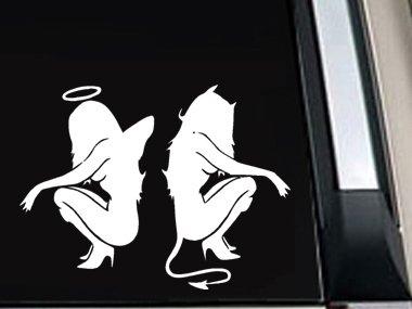 "Sexy Girl Angel Devil Decal Vinyl Sticker 5""L x 6.6""W"