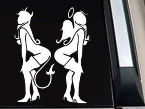 "Angel Devil Girl Decal Sticker 10""L x 7.8""W"