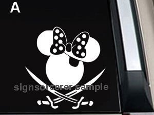 "Minnie Mouse Pirate Decal Sticker 6""L x 6""W"